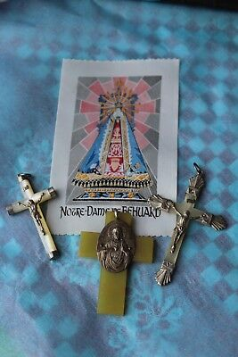 Set of Lovely French Vintage Crucifixes from Rosaries/Prayer Beads & Silk Piece