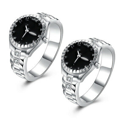 Silver Plated Zircon Round Finger Ring Watch Wedding Birthday Anniversary Gift