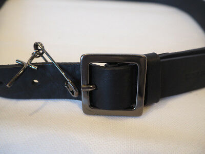 DSQUARED2 matte black leather belt with safety pin size L made in Italy NEW