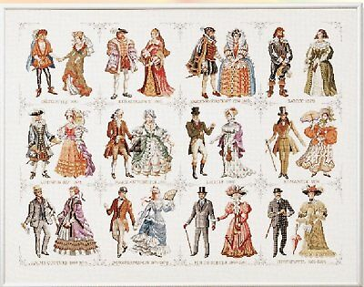 History Sampler - History Through Fashion - Cross Stitch Chart - FREE POST
