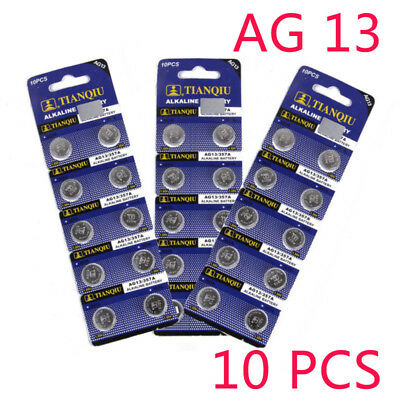 10Pc/Set  AG13 1.55V L1154 LR44 Button Cell Coin Battery Electronics Accessories