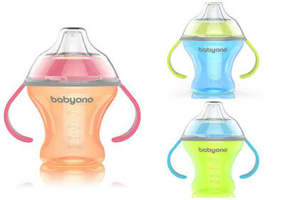 BABYONO 180ml NON-SPILL SIPPY CUP BABY TODDLER SOFT SPOUT NATURAL NURSING NEW