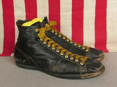 Vintage 1930s Spot Bilt Leather Basketball Sneakers High Top Rubber Soles Sz 8.5