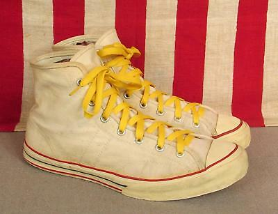 Vintage 1950s Jeepers White Canvas Basketball Sneakers Sears Athletic Shoes 9.5