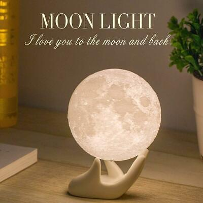 3D Space Moon Lamp Lunar Night USB Charging Touch Control Xmas Gifts UK Stock