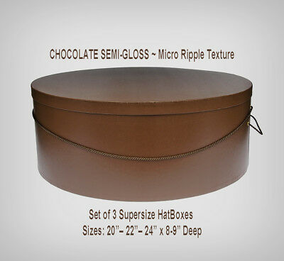 """SUPERSIZE Chocolate HATBOXES ~20""""~22""""~24"""" x 8""""-9"""" Deep ~ Millinery ~ Stack of 3"""