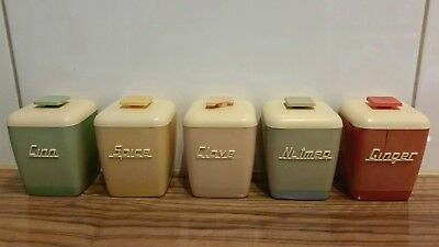 Set of spice canisters retro Nallyware used