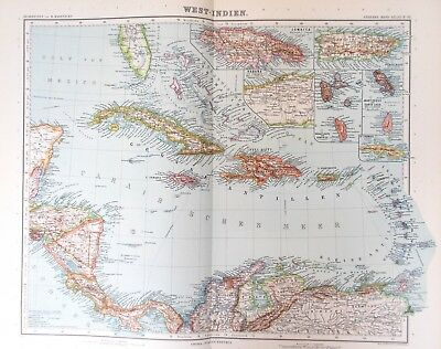 Map of Caribbean.1909  Original. Stieler. Perthes. WEST INDIES  Antique
