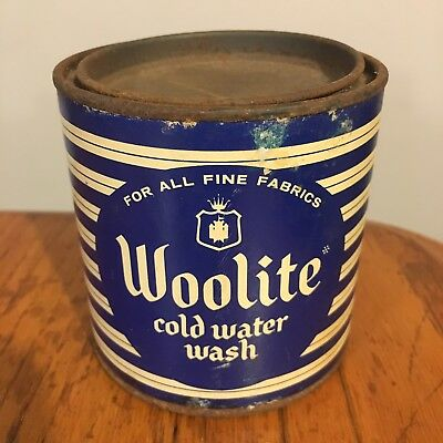 Vtg Laundry Room Collectible Woolite Soap Detergent Tin w/ Paper Label