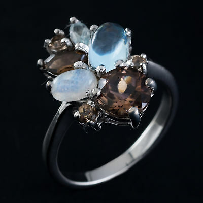 100% Natural 7Mm Smoky Quartz Topaz & Rainbow Moonstone Silver 925 Ring Size 7