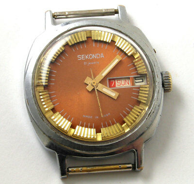 Vintage russian mechanical watch SLAVA  Soviet USSR Men's Analog, Date,
