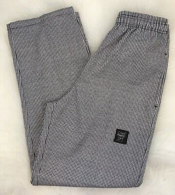 Mint! CHEF REVIVAL Houndstooth, Med, Baggy Pants 4 Pockets White Black A935