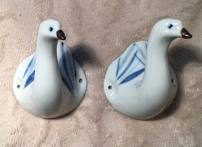 """Two Takahashi Japan Ceramic Goose 2 1/2"""" Wall Hanger Hooks Excellent Condition!"""