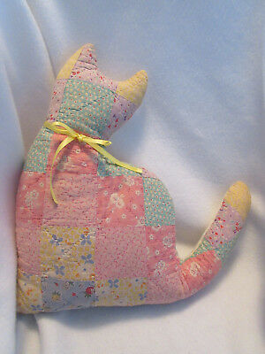 Primitive Patchwork Quilt Handmade Cat Pillow From Vintage Quilt Fabric