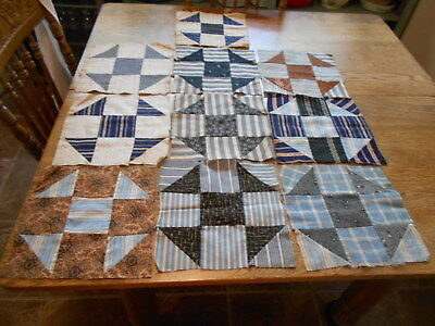 "Vintage Antique 10 Churn Dash Quilt Blocks Cotton  10"" X 10"" 1890's 1910's"
