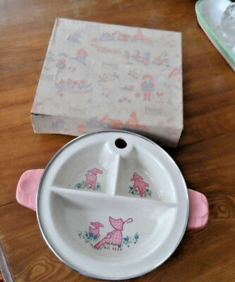 Vintage Child's Baby Dish Excello Divided Warming Bowl Original Box