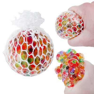 Stress Relief Ball Coloured Squidgy Squeezy Squishy Mesh Squeeze Gift Party Yuch