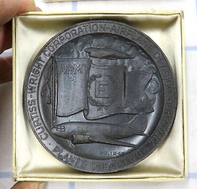 "1942 Wwii Us Home Front Army Navy ""e Production 3 Curtiss Wright Aviation Medal"