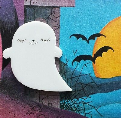 White acrylic super cute fun ghost brooch pin badge quirky jewellery