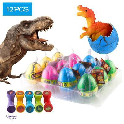 12 Pcs Dinosaur Eggs with Bonus10 Stamps, Kictero Crack Easter that Hatch in...
