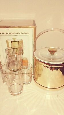 VTG Culver Ice Bucket w/ 4 Old Fashioned Glasses Reflections (262) 22K Gold