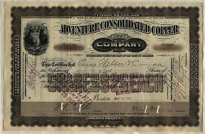Adventure Consolidated Copper Company Stock Certificate Michigan Mining