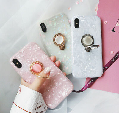 Soft Silicone Shell With Holder IMD Case Phone case for iphone 6 6s 7 8 plus X
