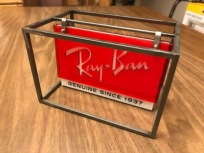 Metal/Plastic Ray-Ban Advertisement Counter Top Small Swing Sign Made In Italy