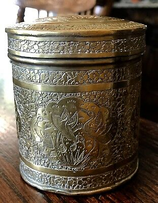 Antique Japanese Etched Brass Tea / Spice Jar / Canister With Lid