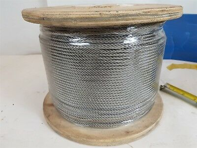 Stainless Steel AISI-304 Wire Rope Cable 5/32 4mm 7x7-strand 305m CL PVC New