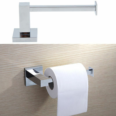 Modern Deluxe Bathroom Toilet Roll Holder Washroom Chrome | Wall Mounted Square