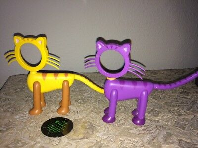 Cat Shaped Picture Frame Kitty Pair Of Cat Frames Yellow, Purple