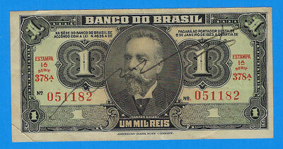 1944 WWII Emergency Issue Brazil 1 Mil Reis Hand Signed Note P-131A