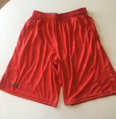 Mens Under Armour Red Printed Athletic Workout Shorts - Size Medium Loose
