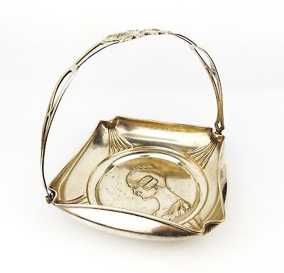 Antique ca 1904 ARGENTOR Art Nouveau Basket Jugendstil Maiden Face Silverplate