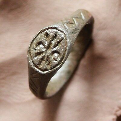 Ancient Roman Bronze Intaglio Sel Ring Size D=19mm 6,5gm Quality