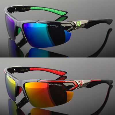 New Men Polarized Sunglasses Sport Wrap Around Mirror Driving Eyewear Glasses