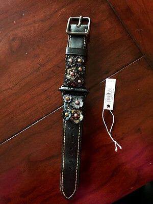 Coach Apple Watch Strap 38 mm with Tea Rose  BLACK MULTI Style # 1298