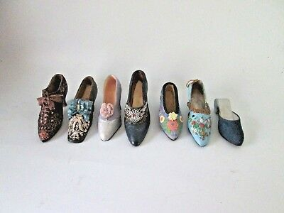 Mini Victorian Shoe Figurines by Paula's Perfect Fit Shoes Set of 7