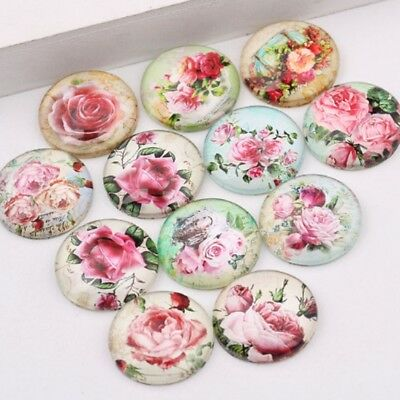 10 Pink Rose Flower Cabochons Mixed Round Glass Cabochon Flat Back 10mm 20mm
