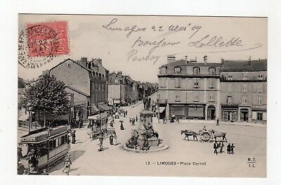 CPA 87 - Limoges - place Carnot , tramways , attelage