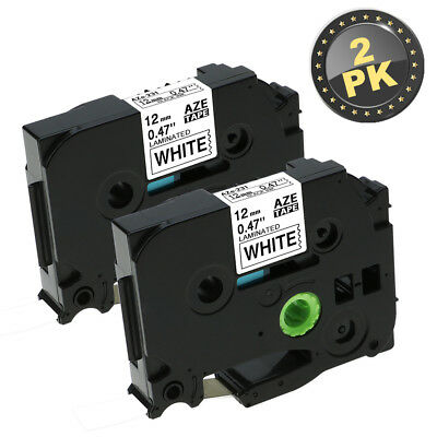"""2PK Brother P-Touch TZ231 TZe231 12mm (1/2"""") x 8m Black on White Label Tape"""