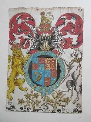 Orig c1670 Watercolour The Royal Arms of King Charles II With Scottish Emblems