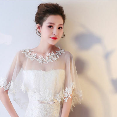Lady Bridal Sheer Mesh Embroidery Lace Asymmetric Shawl Cape Wedding Prom Party