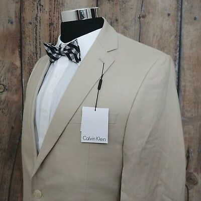 NEW $350 Calvin Klein Sport Coat Mens 100% Linen 2 Button Khaki Blazer Jacket