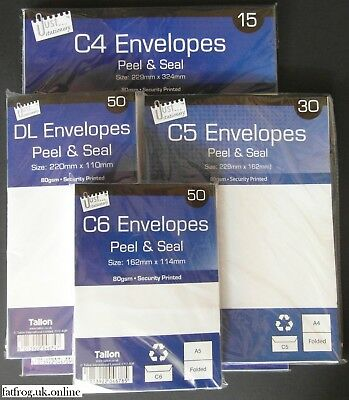 C6 C5 C4 DL SELF SEAL PLAIN WHITE ENVELOPES peel a4 a5 a6 DL