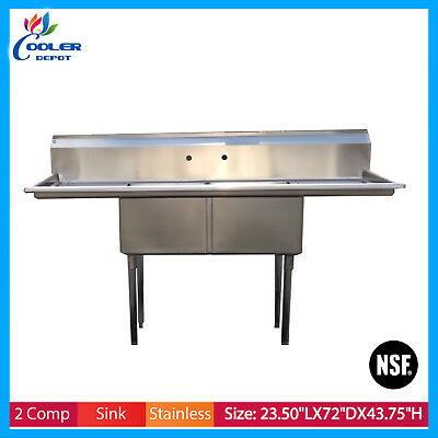 """72"""" Stainless Steel 2 Compartment Commercial Restaurant Sink Two Drainboards NSF"""