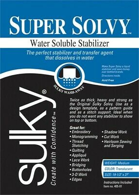 "Sulky Super Solvy Water Soluble Roll stabilizer x9yd 12/"" x 9 yd"