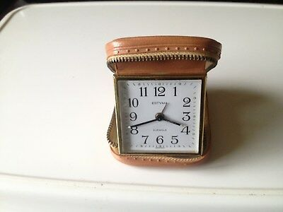 VINTAGE 70s ESTYMA TRAVEL ALARM CLOCK, 2 JEWELS, MADE IN GERMANY,WITH ZIP CASE