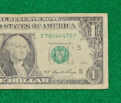 2006 $1 Fancy Serial Number Repeater 70.44,44.70 Bookends/quad 4444 Trinary Note